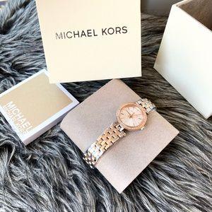 NWT authentic MK silver rosegold tone darci watch